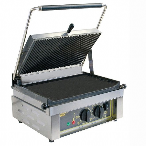 Roller Grill PANINI Large Single - Ribbed Top & Flat Base Plates Contact Grills